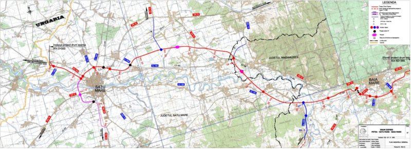 Drum expres Baia Mare-Petea - harta CNAIR
