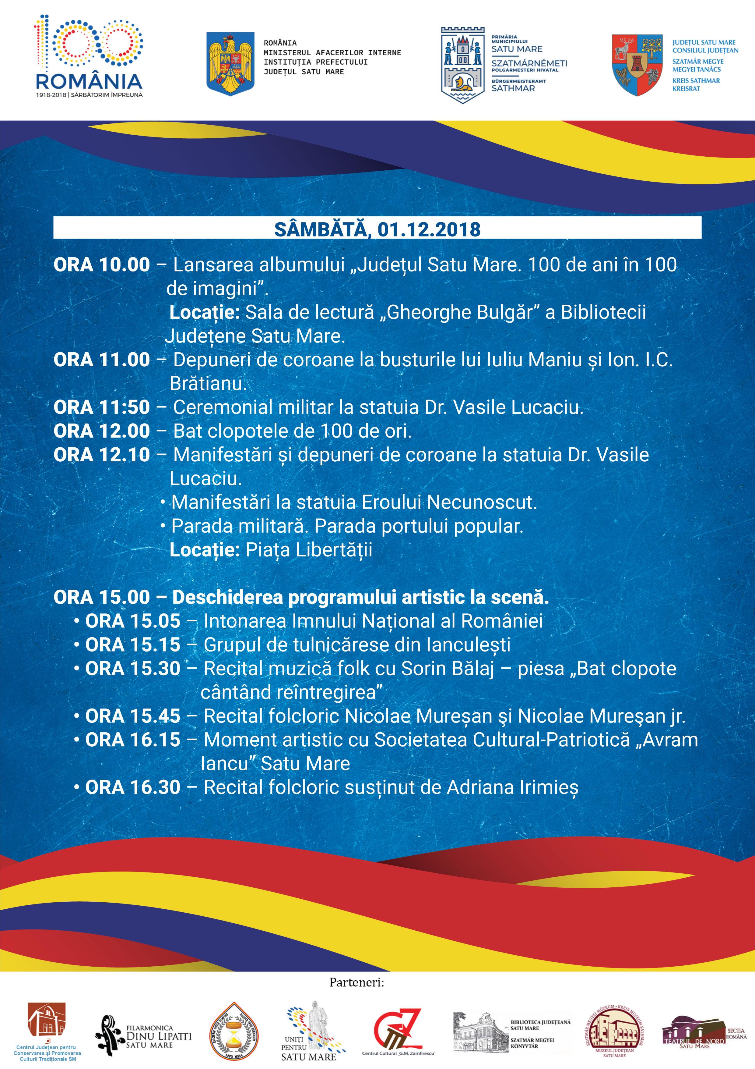 Program 1 Decembrie Satu Mare 2018