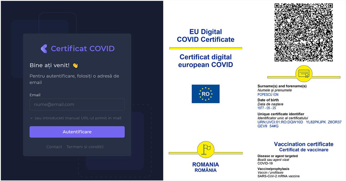 certificat COVID-19